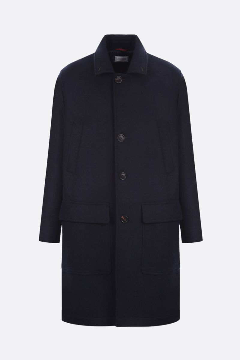 BRUNELLO CUCINELLI: shearling collar-detailed wool single-breasted coat Color Blue_2