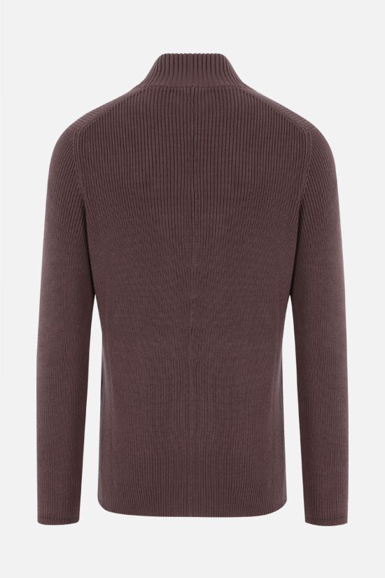 BRUNELLO CUCINELLI: double-breasted cotton knit cardigan Color Brown_2