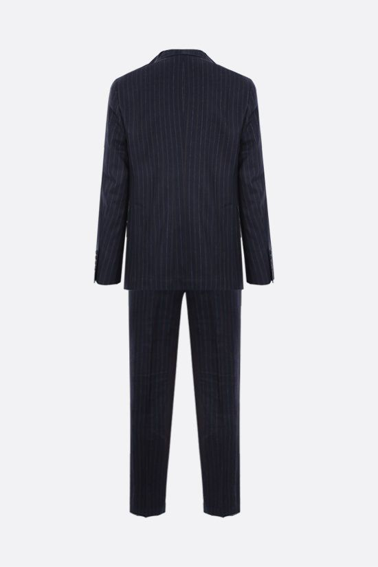 BRUNELLO CUCINELLI: pinstriped linen wool silk blend two-piece suit Color Blue_2