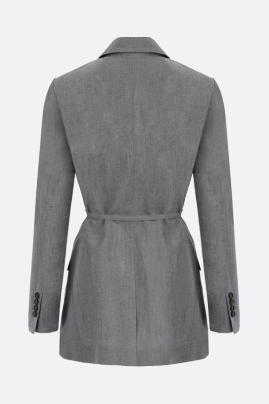 BRUNELLO CUCINELLI: double-breasted wool linen blend jacket with belt Color Grey_2