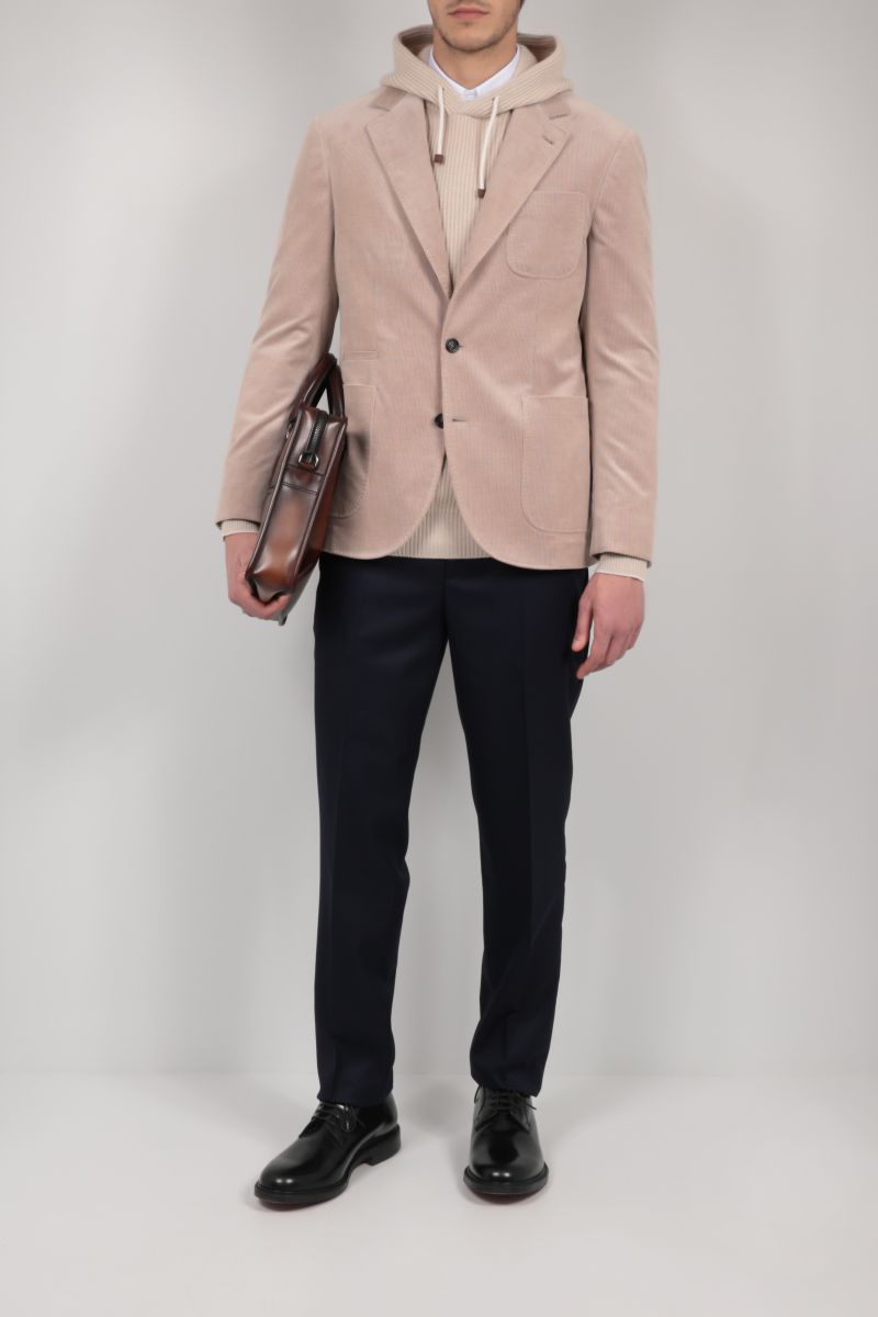 BRUNELLO CUCINELLI: single-breasted corduroy jacket Color Brown_2