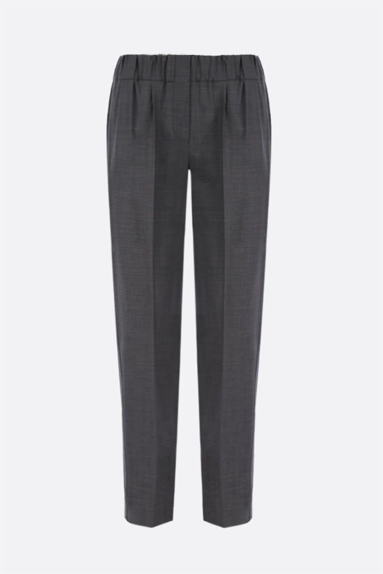 BRUNELLO CUCINELLI: monili-detailed wool blend joggers Color Grey_1