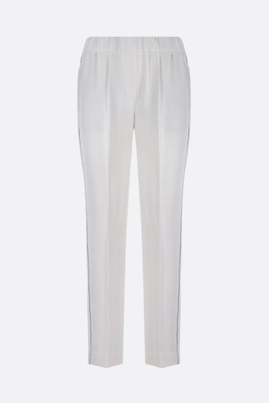 BRUNELLO CUCINELLI: monili-detailed cady joggers Color White_1