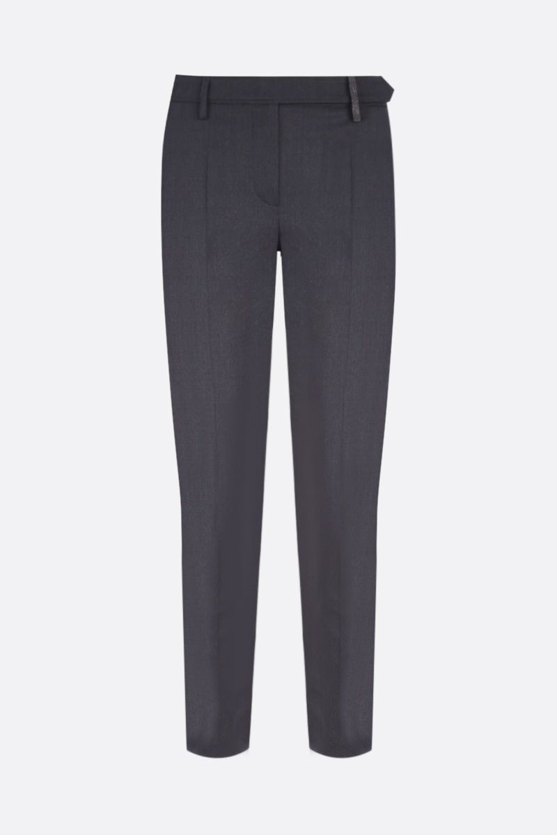 BRUNELLO CUCINELLI: monili-detailed stretch wool pants Color Grey_1