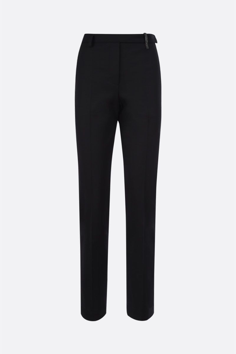 BRUNELLO CUCINELLI: monili-detailed stretch wool pants Color Black_1