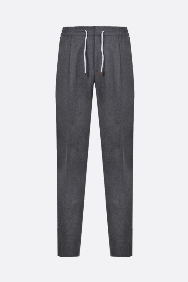 BRUNELLO CUCINELLI: wool flannel joggers Color Grey_1