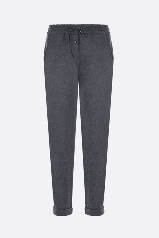 BRUNELLO CUCINELLI: Shiny Stitch-detailed jersey joggers Color Grey_1