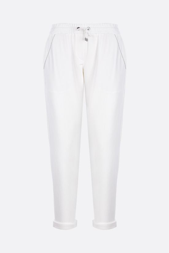 BRUNELLO CUCINELLI: Shiny Stitch-detailed jersey joggers Color White_1