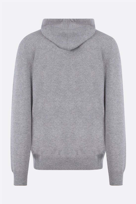 BRUNELLO CUCINELLI: pure cashmere full-zip pullover Color Grey_2
