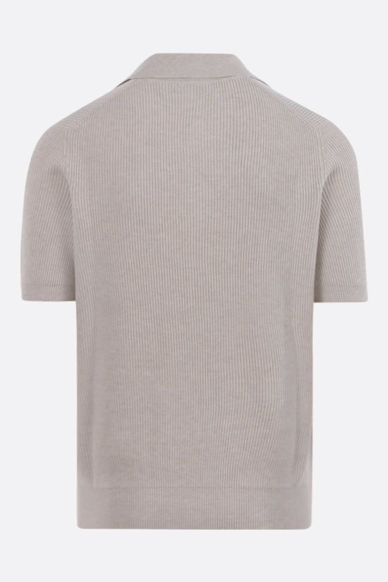 BRUNELLO CUCINELLI: ribbed cotton short-sleeved pullover Color Brown_2