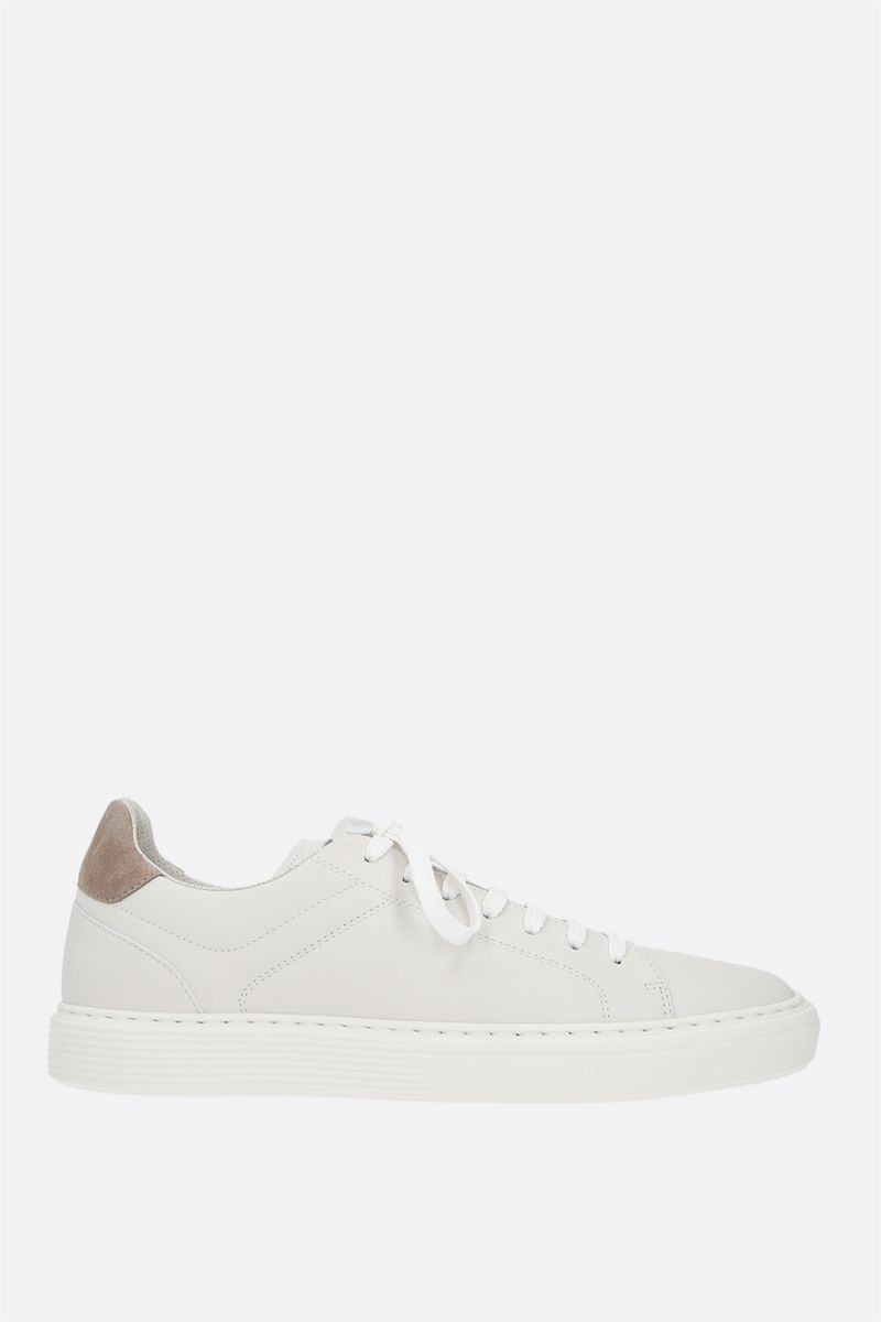 BRUNELLO CUCINELLI: logo-detailed smooth leather sneakers_1