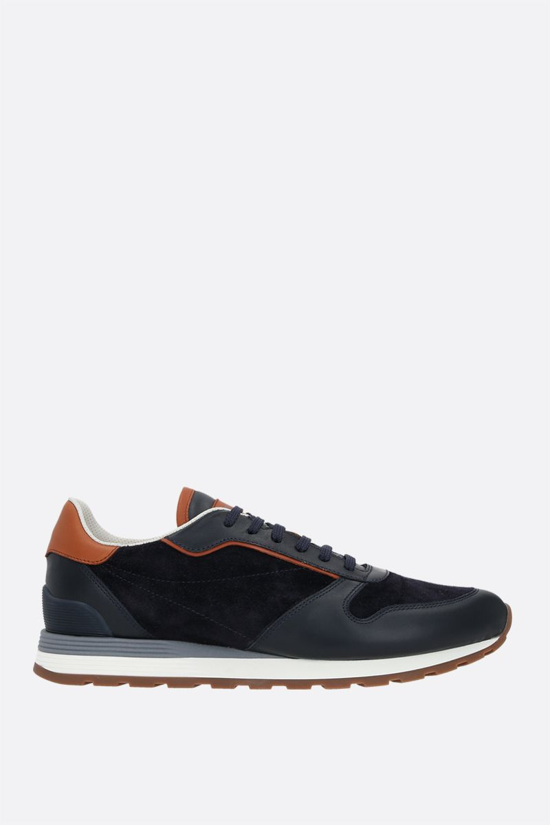 BRUNELLO CUCINELLI: smooth leather and suede sneakers_1