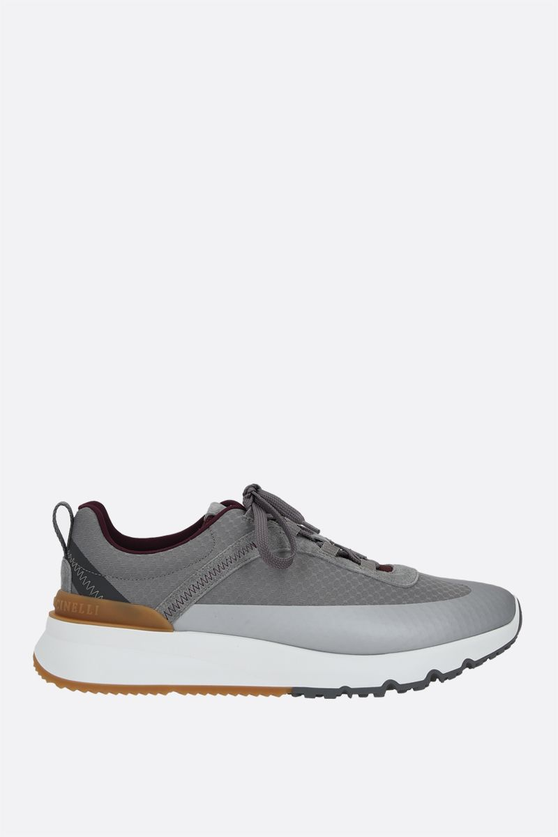 BRUNELLO CUCINELLI: Honeycomb fabric and suede sneakers Color Grey_1