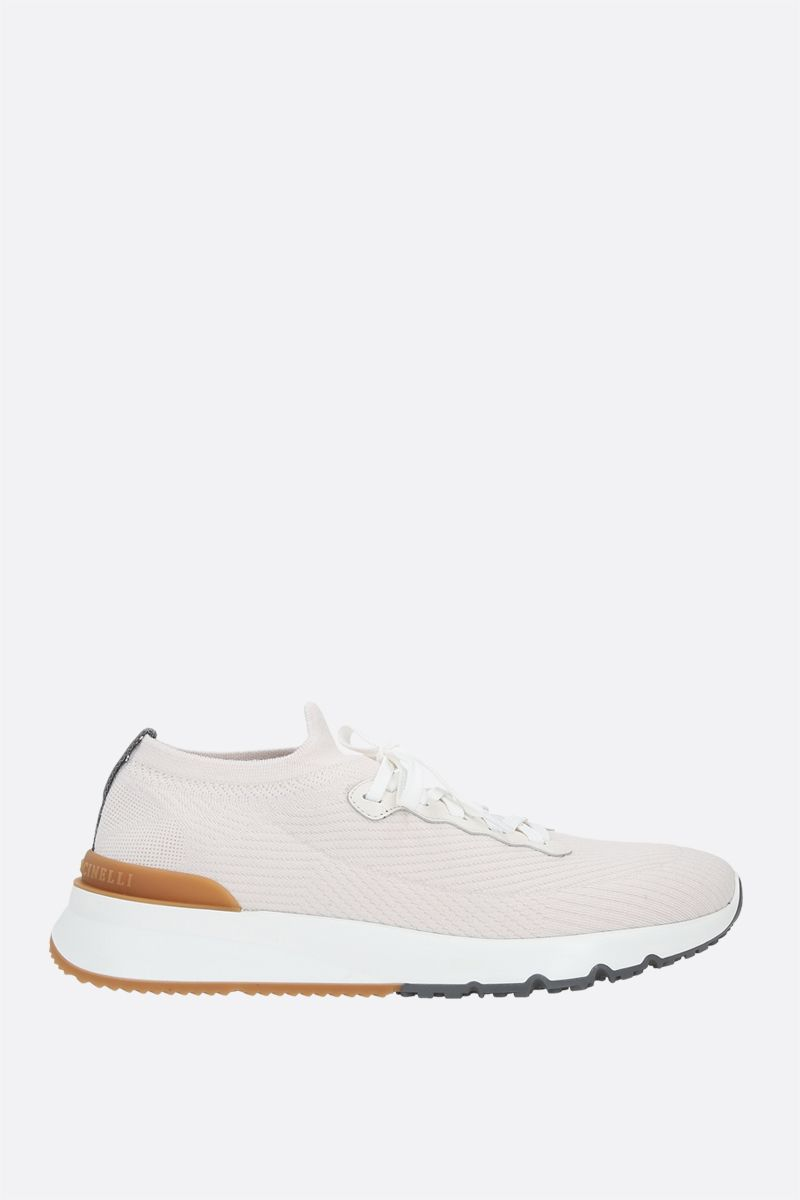 BRUNELLO CUCINELLI: wool knit sneakers Color White_1