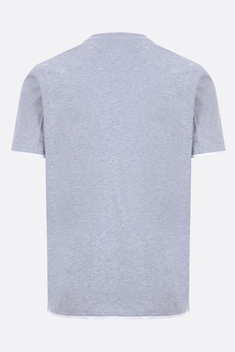 BRUNELLO CUCINELLI: cotton t-shirt with double-layer Color Grey_2