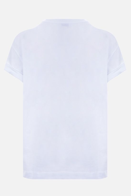 BRUNELLO CUCINELLI: monili-detailed stretch cotton t-shirt Color White_2