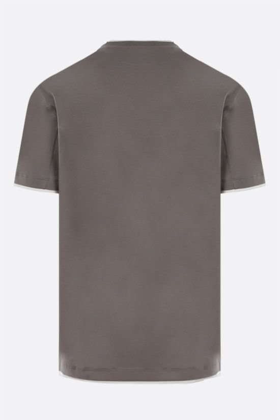 BRUNELLO CUCINELLI: t-shirt slim-fit in cotone Colore Marrone_2