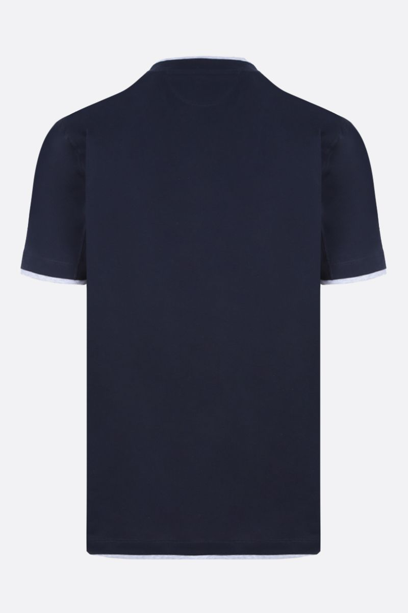 BRUNELLO CUCINELLI: slim-fit cotton t-shirt Color Blue_2