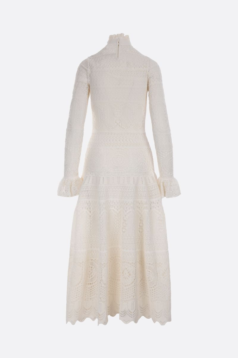 ALEXANDER McQUEEN: engineered lace knitted long dress Color White_2