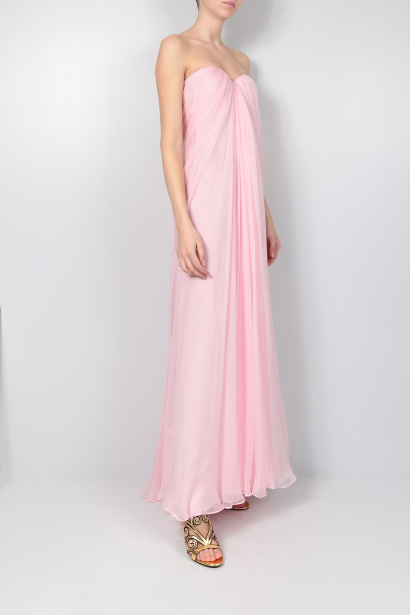 ALEXANDER McQUEEN: chiffon bustier dress Color Pink_2