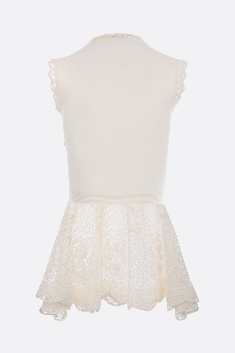 ALEXANDER McQUEEN: stretch knit sleeveless top with lace inserts Color White_2