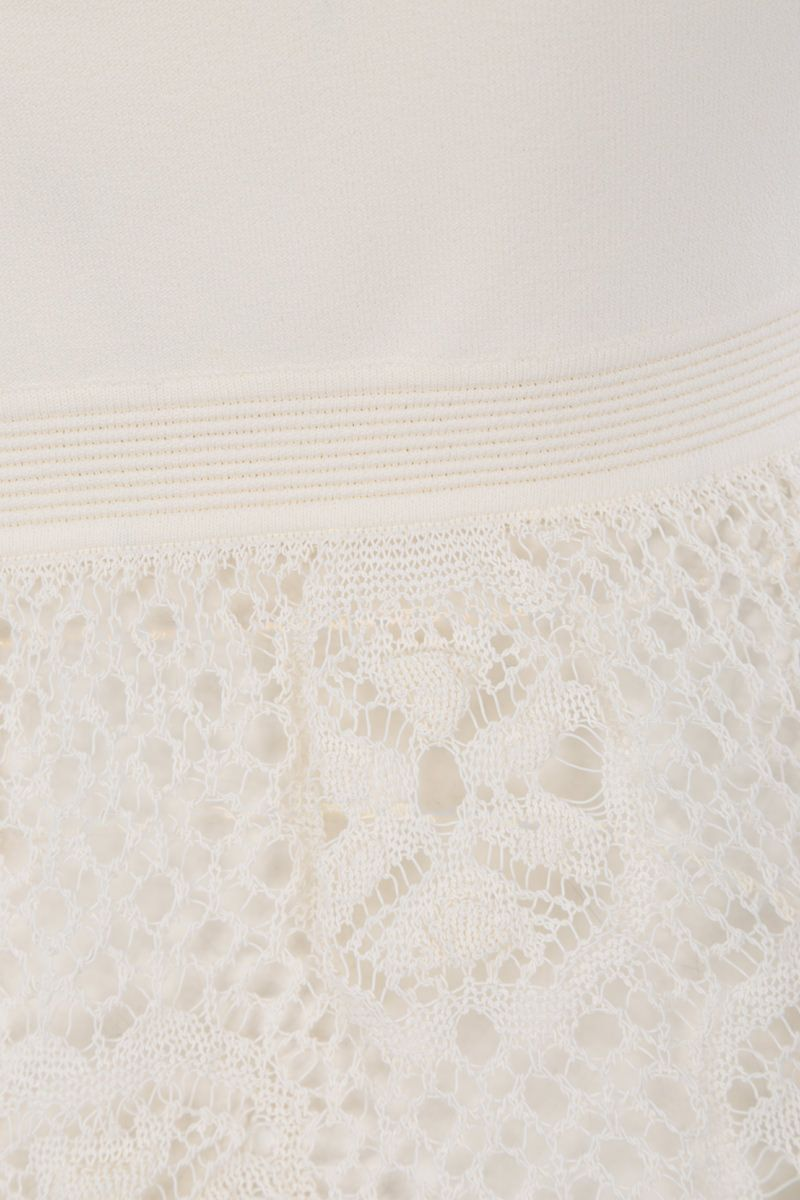 ALEXANDER McQUEEN: stretch knit sleeveless top with lace inserts Color White_3