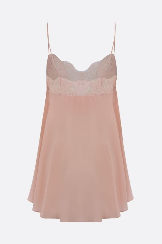 ALEXANDER McQUEEN: lace-trimmed silk top Color Pink_2