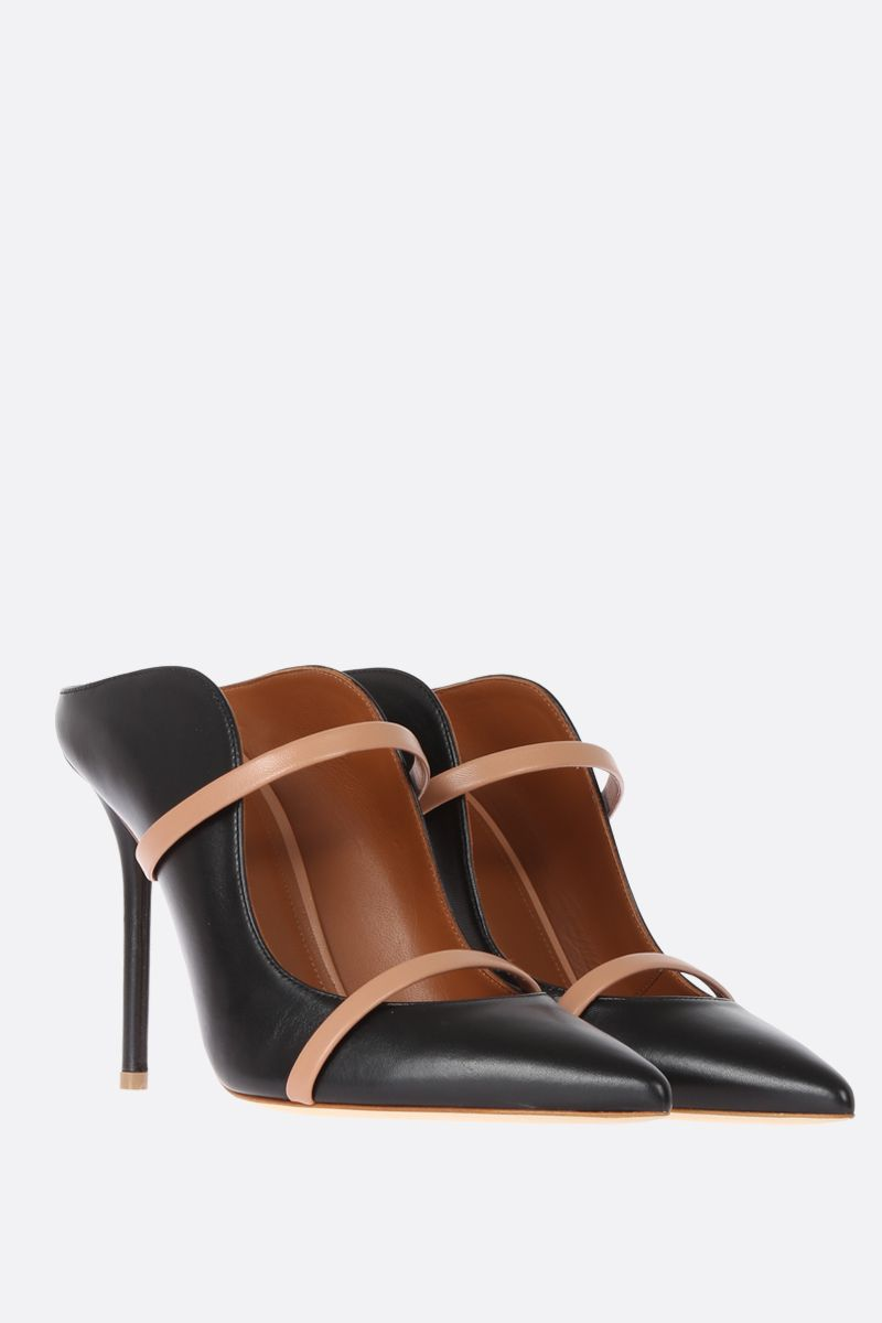 MALONE SOULIERS: Maureen mules in bicolour nappa Color Black_2