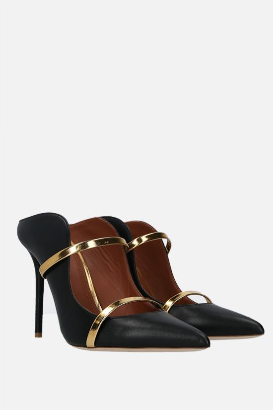 MALONE SOULIERS: Maureen nappa and laminated leather mules Color Black_2