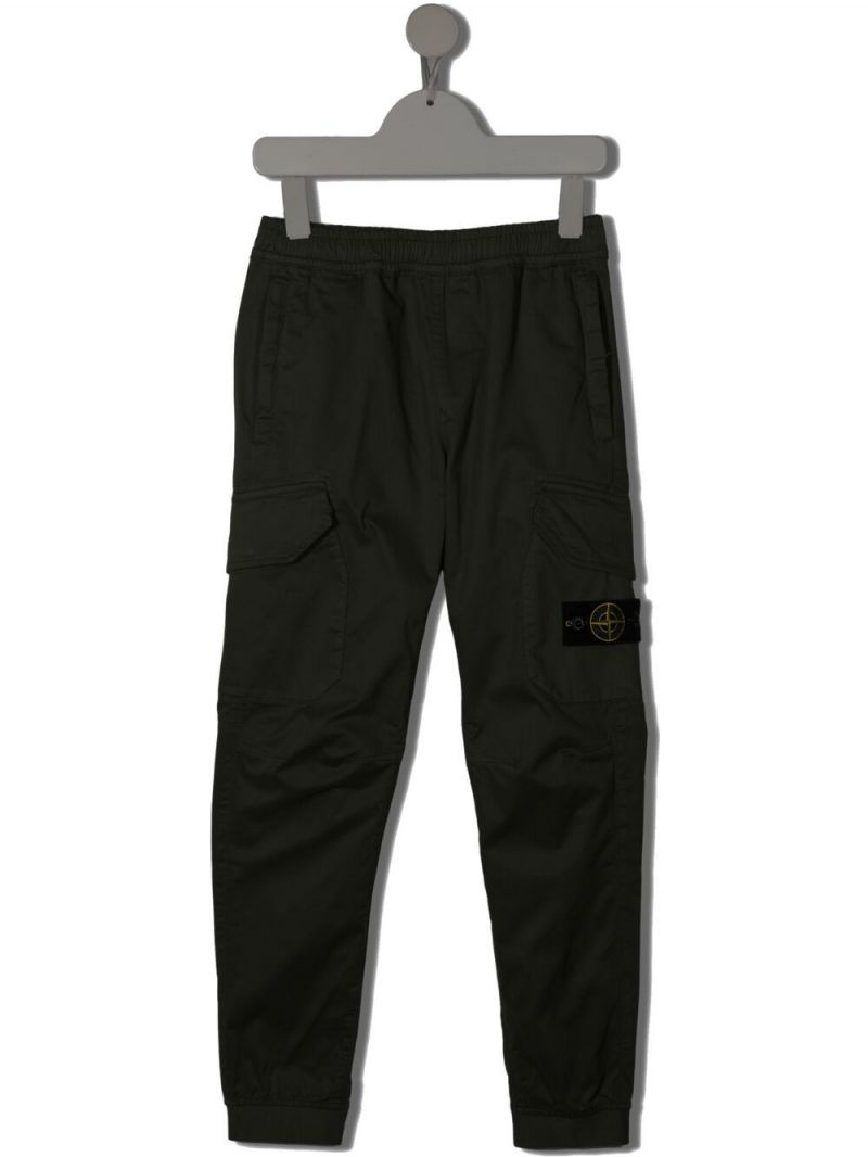 STONE ISLAND JUNIOR: stretch cotton cargo pants Color Multicolor_1
