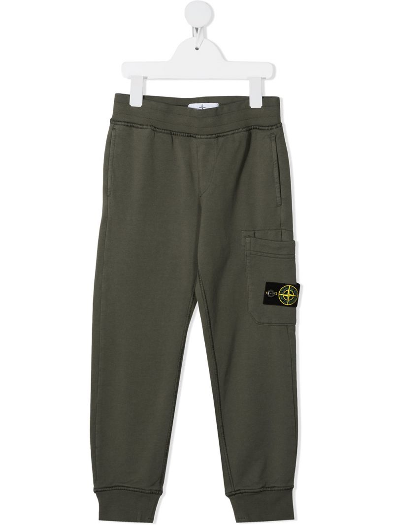 STONE ISLAND JUNIOR: logo badge-detailed cotton joggers Color Multicolor_1