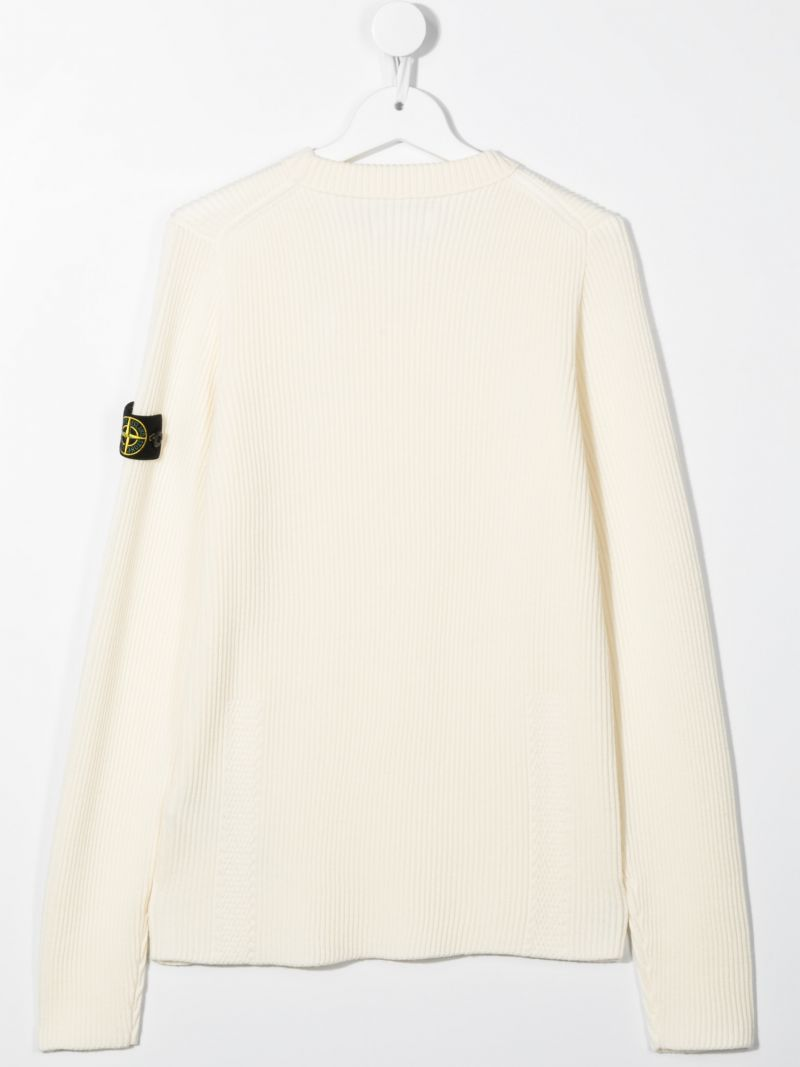 STONE ISLAND JUNIOR: logo badge-detailed ribbed wool pullover Color Neutral_2