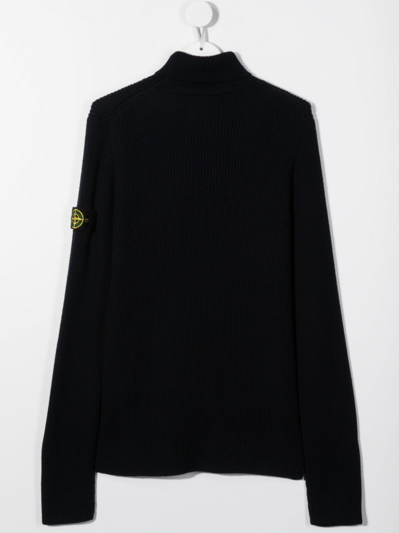 STONE ISLAND JUNIOR: logo badge-detailed wool pullover Color Blue_2