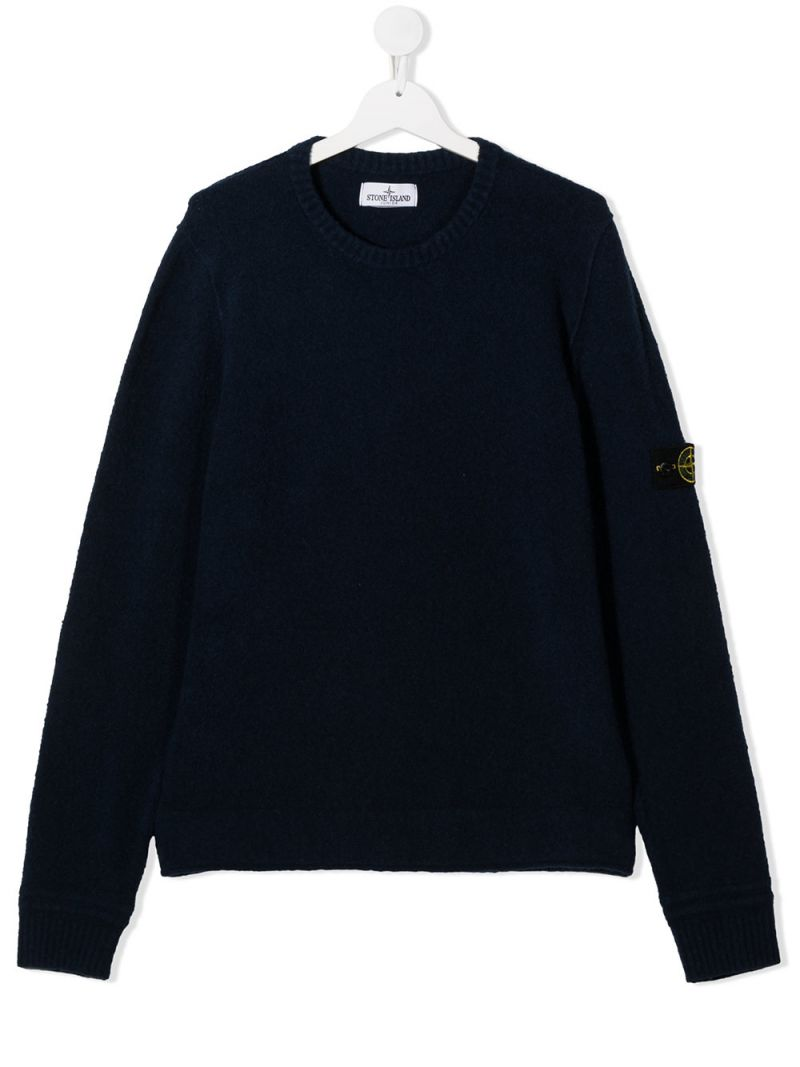 STONE ISLAND JUNIOR: logo badge-detailed cotton blend pullover Color Blue_1
