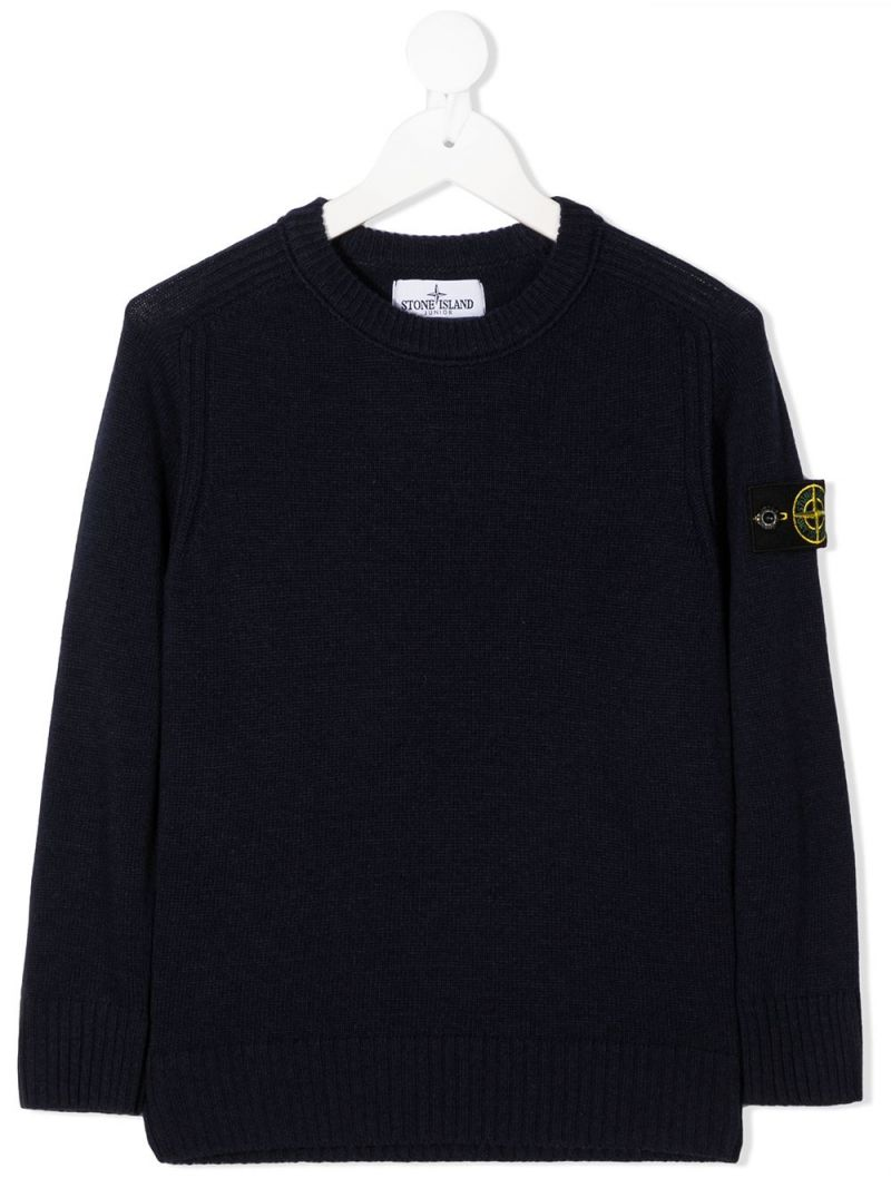 STONE ISLAND JUNIOR: pullover in misto lana e cashmere con badge logo Colore Blu_1