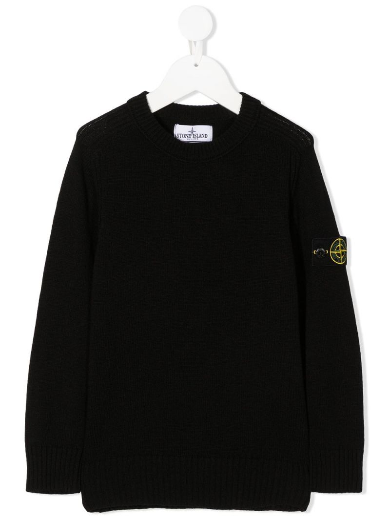 STONE ISLAND JUNIOR: pullover in misto lana e cashmere con badge logo Colore Nero_1