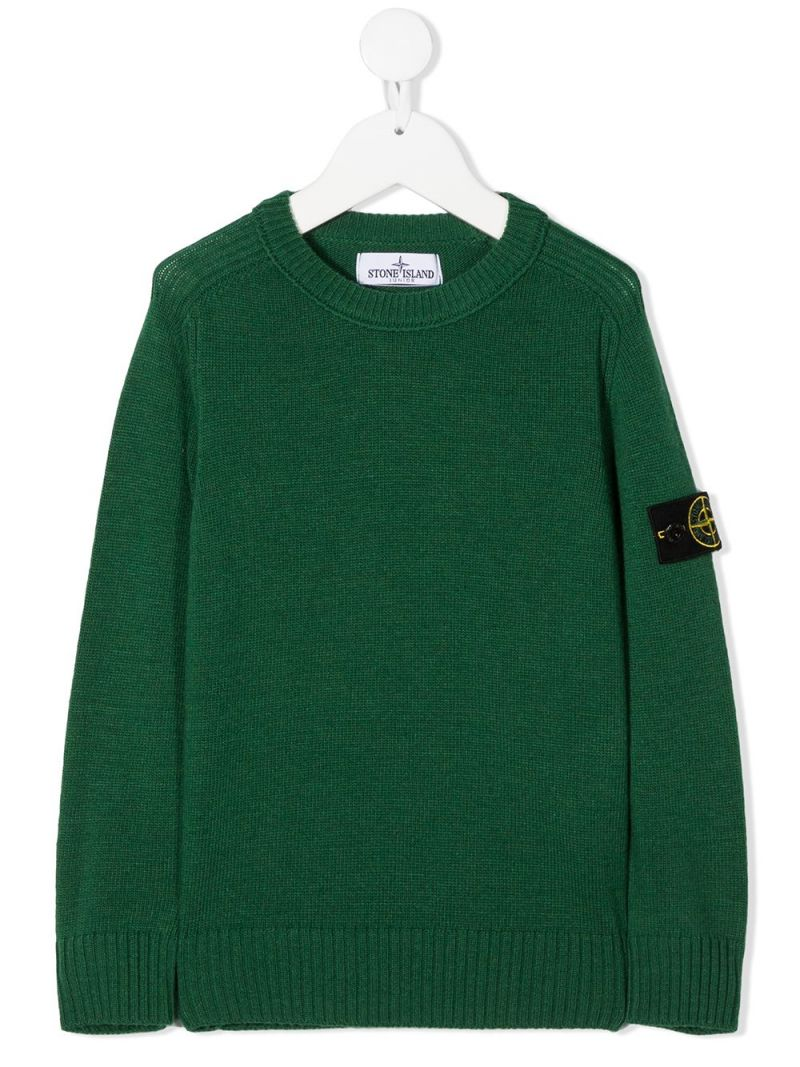STONE ISLAND JUNIOR: pullover in misto lana e cashmere con badge logo Colore Verde_1