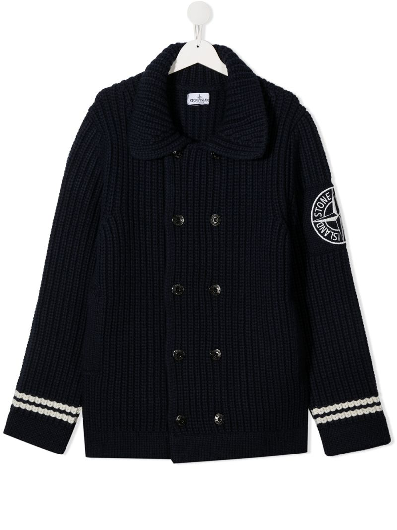 STONE ISLAND JUNIOR: logo patch wool blend cardigan Color Blue_1