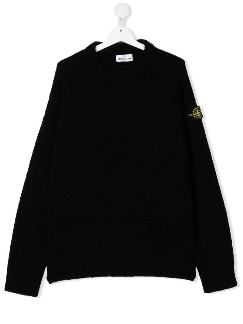 STONE ISLAND JUNIOR: logo-detailed technical wool pullover Color Black_1