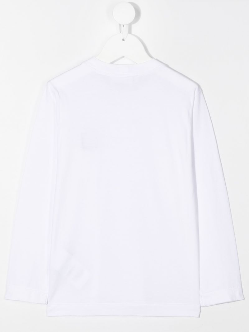 STONE ISLAND JUNIOR: logo patch cotton long-sleeved t-shirt Color White_2
