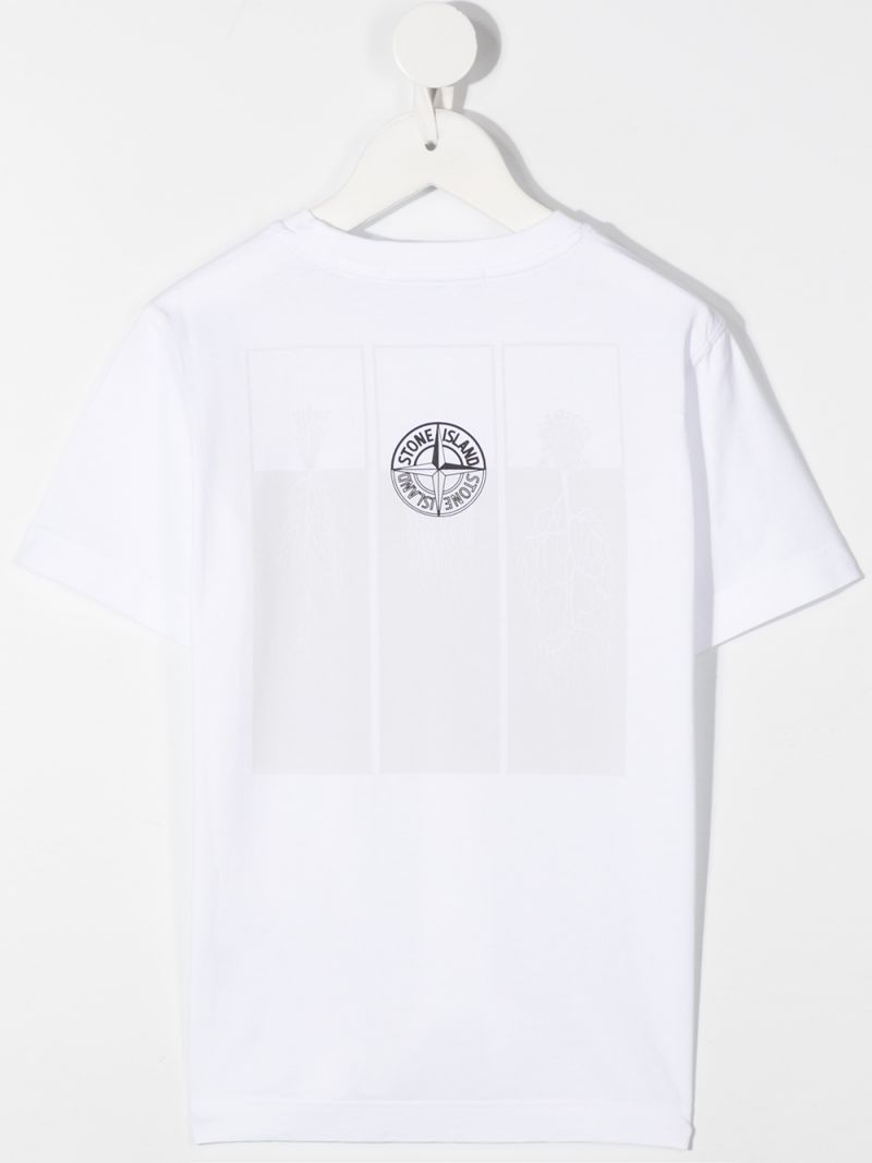 STONE ISLAND JUNIOR: graphic print cotton t-shirt Color White_2