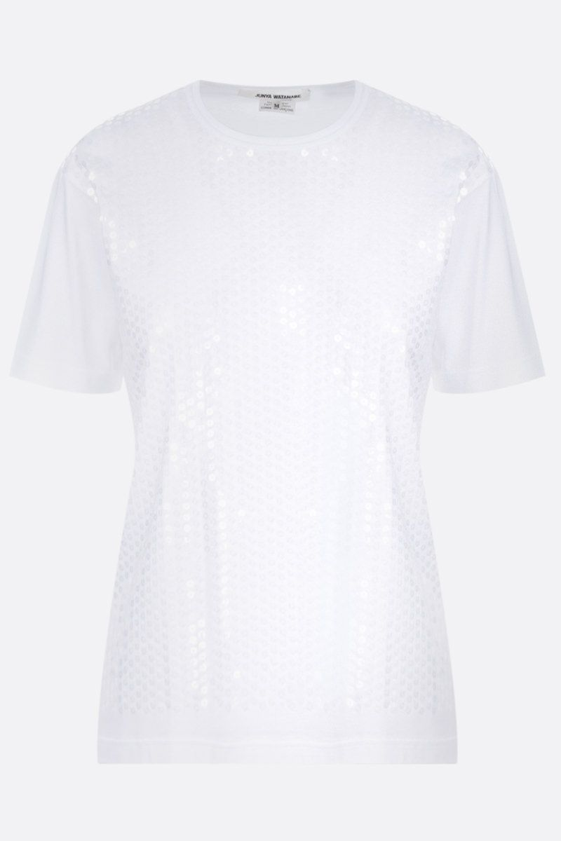 JUNYA WATANABE: t-shirt in cotone con paillettes Colore White_1