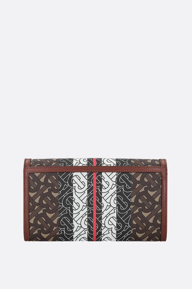 BURBERRY: Hannah strap wallet in TB Monogram coated canvas Color Brown_3