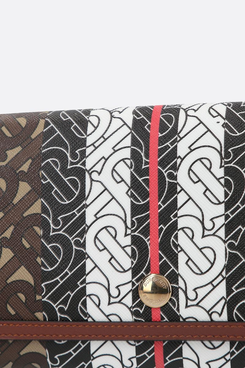 BURBERRY: Hannah strap wallet in TB Monogram coated canvas Color Brown_4
