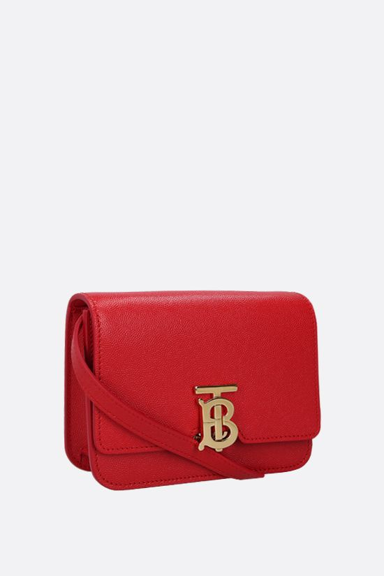 BURBERRY: TB mini textured leather shoulder bag Color Red_2