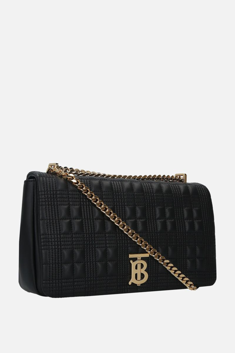 BURBERRY: borsa a spalla Lola media in nappa matelassè Colore Nero_2
