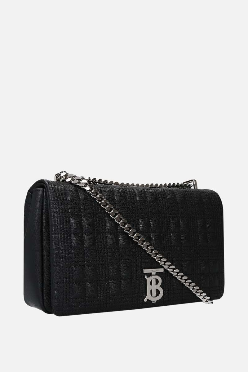 BURBERRY: Lola medium quilted textured leather shoulder bag Color Black_2