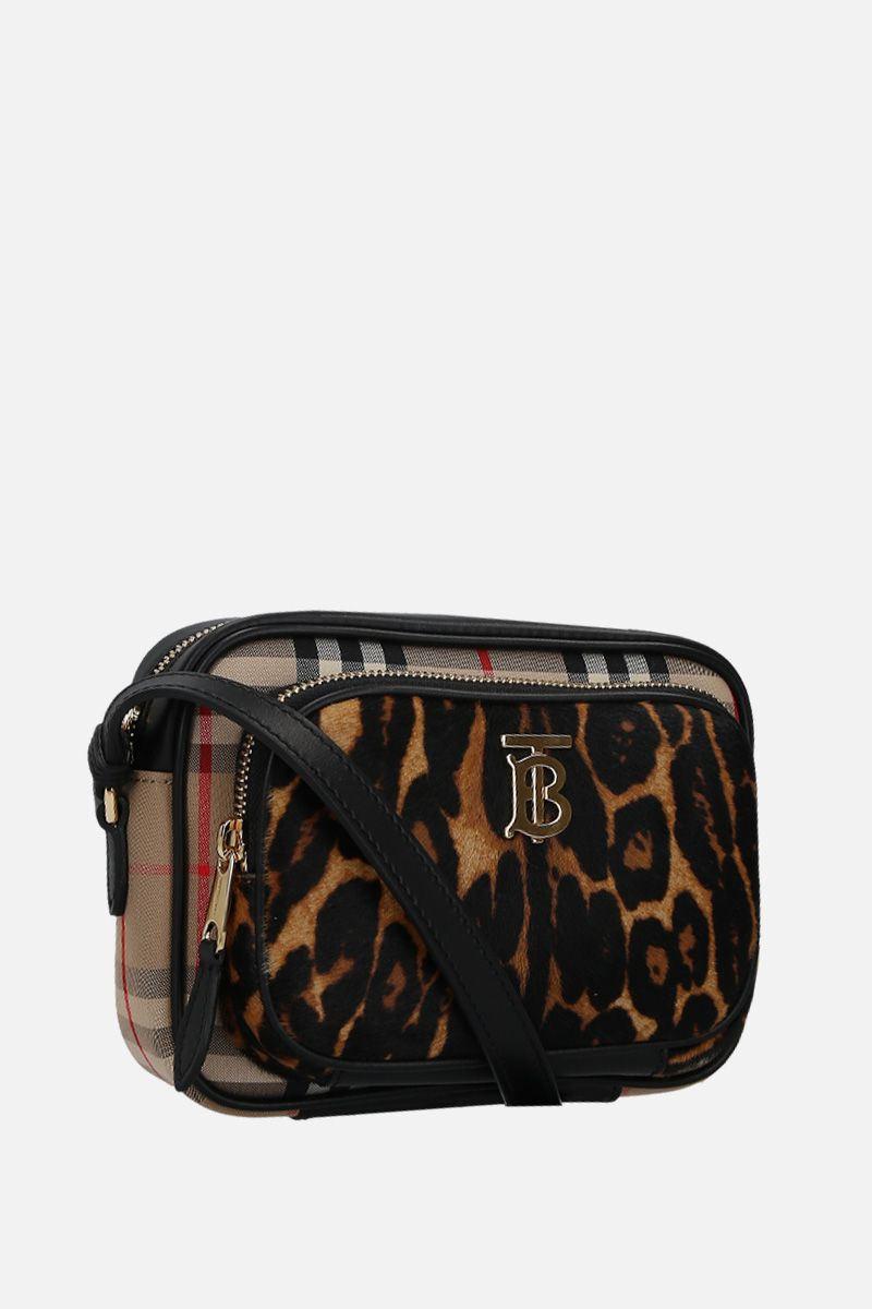 BURBERRY: borsa a spalla in canvas e cavallino leopardato Colore Nero_2