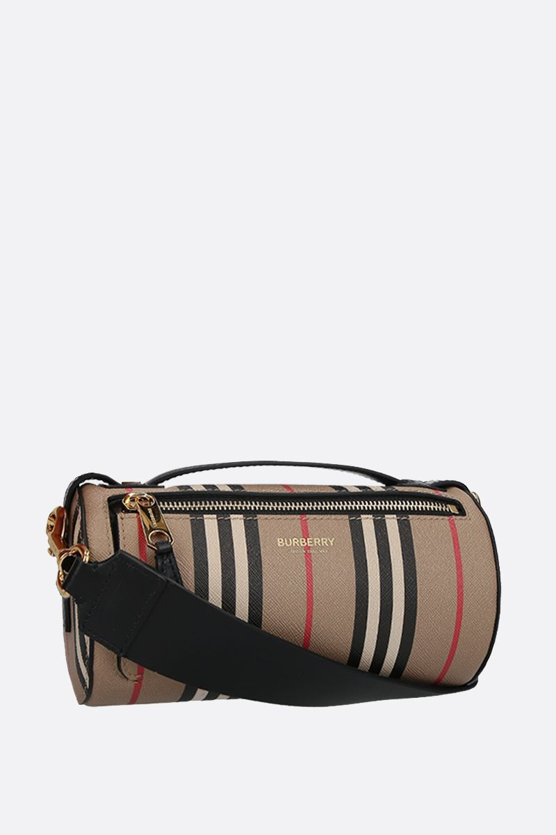 BURBERRY: The Barrel coated canvas shoulder bag Color Brown_2