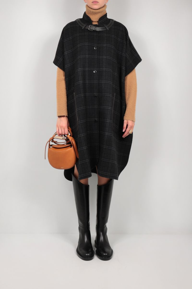 BURBERRY: check wool cashmere blend cape Color Green_2